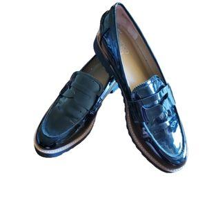 Franco Sarto black patent loafers size 10